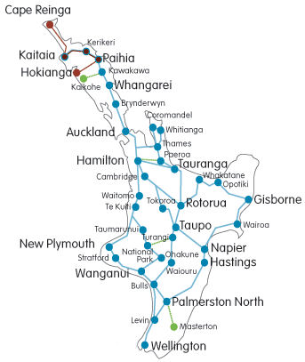 North Island coach and bus route map